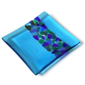 Turquoise Blue Fused Glass Plate with Mosaic Style Stripe, Art Glass Jewelry Soap Dish