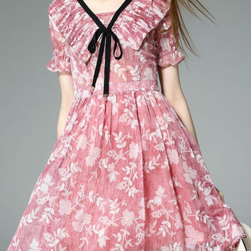 Pink Tie Neck Ruffle Floral Dress