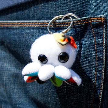 Octopus with bow Keychain, Plush Keychain, Fabric Keychain, Geeky Keychain, Cute Octopus Figurine - Ready to Ship