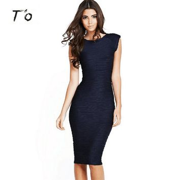 T'O Women Summer Elegant Vintage Retro Deep V Back Sleeveless Solid Color  Ruched Party Bodycon Wiggle Tunic Pencil Dress 190