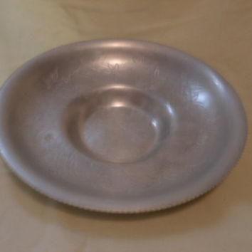 Metalware, Aluminum Hand Wrought Bowl, Floral Design Metal Bowl, Metal Serving Bowl