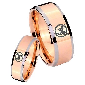 His Hers Rose Gold Beveled Honey Bee 2 Tone Tungsten Wedding Rings Set