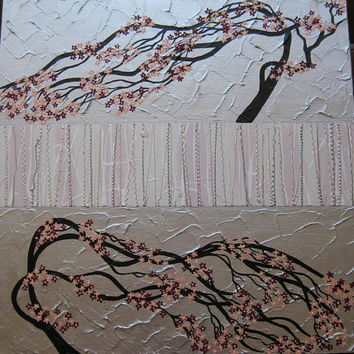 cherry blossom tree trees large abstract art zen oriental black gray grey silver light and dark pink Japanese look painting wall paintings