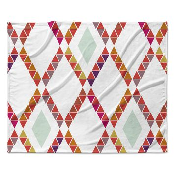 "Pellerina Design ""Aztec Diamonds"" Orange Geometric Fleece Throw Blanket"