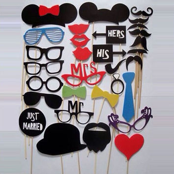 Photo Booth Props 31 Pcs Set Photobooth For Wedding Birthday Party Photo Booth Props Glasses Mustache Lip On A Stick