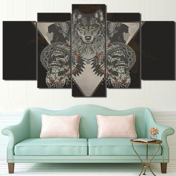 American Indian Skull Gray  Framed UNframed Wolf Poster Wall Picture Home Decor