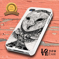 Owl bird black & white tattoo graphic illustration art for iphone, ipod, samsung galaxy, HTC and Nexus PHONE CASE