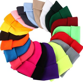 2018 New Candy Color Knitting Cotton Men Women Hats Girls Caps Boys Beanies Fashion Lady Dance Head Wear Skullies Accessory
