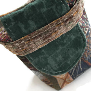 Small Reusable Gift Bag Northwest Gold Green Brown Upholstery Fabric Masculine Log Cabin Holiday Wrapping --US Shipping Included