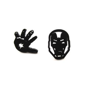 Iron Man Mask and Glove Shaped Stud Earrings in Black | Super Hero Jewelry