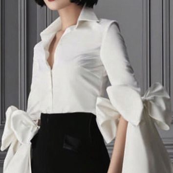 City Bound White Long Flare Bow Sleeve Button Blouse Top