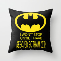 Gotham City Throw Pillow by Veronica Ventress
