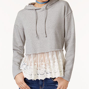 American Rag Juniors' Lace-Trim Cropped Fleece Hoodie, Created for Macy's | macys.com