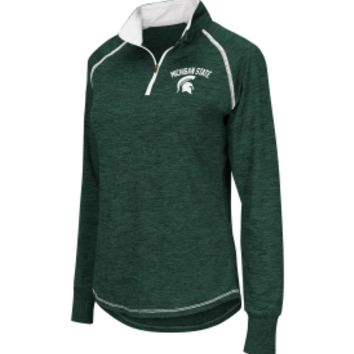 Colosseum Athletics Women's Michigan State Spartans Green Bikram Heather Quarter-Zip | DICK'S Sporting Goods