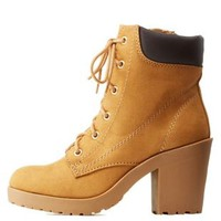 Sand Lace-Up Work Booties by Charlotte Russe