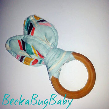 Natural Organic Treated Wooden Teething Ring, Bunny Ear Teething Ring, Arrows, Gender Neutral, Baby Shower Gift