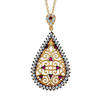 Drop 14k Solid Gold Special Necklace Ottoman Style Red Stones