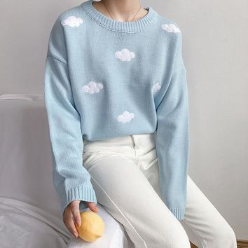 3 Colors 2017 Autumn And Winter Preppy Style Knitted Sweater Clouds Cartoon Womens Sweaters And Pullovers