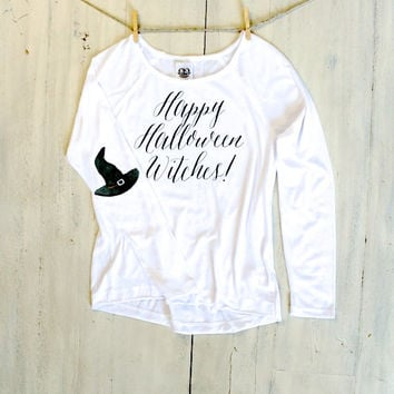 Happy Halloween Witches Long Sleeve Tee - Womens Graphic T Shirt Holiday Fashion White Long Sleeve Watercolor Witch Hat Spooky Witchy Scary