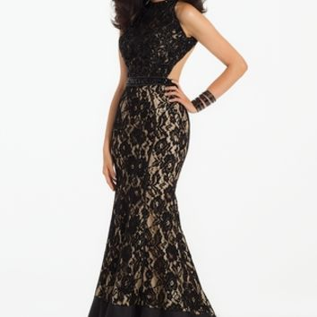Piped Beaded Lace Dress
