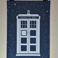 """Doctor Who """"Glow in the Dark"""" TARDIS Poster"""