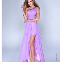Lavender Satin & Chiffon One Shoulder High-Low Prom Dress