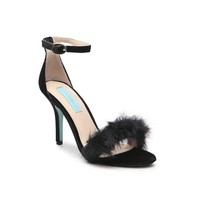 Betsey Johnson Women's Black Velvet Nolte Faux Fur Trim Sandal