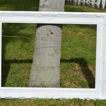 Extra Large Vintage Ornate Picture Frame White 47 x 35 inches - Extra Large White Picture Frame 35x47