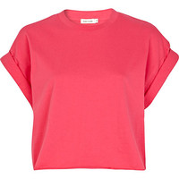 River Island Womens Pink short sleeve boxy cropped t-shirt