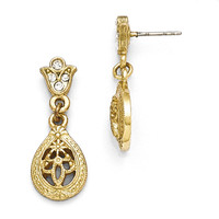 Gold Tone Downton Abbey Edwardian Teardrop Crystal Earrings