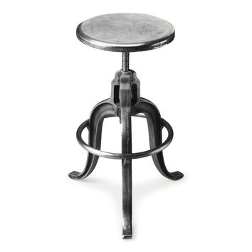Parnell Transitional Round Iron Bar Stool Silver