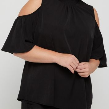 Plus Black Smocked Cold Shoulder Shirt | Plus Cold Shoulder | rue21