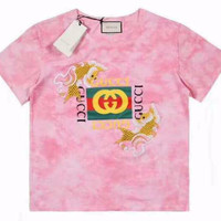 Gucci Cute Little Goldfish Embroidery Double G Round Neck Cotton Tee Shirt Top B-GQHY-DLSX Pink