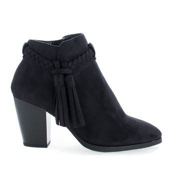 Issey Black By Delicious, Western Tassel Stacked High Heel Ankle Boots
