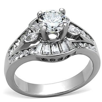 WildKlass Stainless Steel Pave Ring High Polished (no Plating) Women AAA Grade CZ Clear