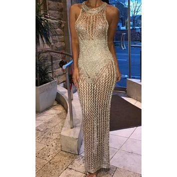 No Filter Gold Sheer Crochet Lace Sleeveless Scoop Neck Bodycon Maxi Dress