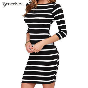 Everyday Dresses For Women Slimming Wrap Women's Fashion Clothing Autumn 2015 Casual Striped Bodycon Dress Fall 871
