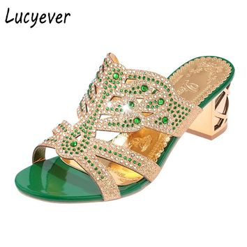 Summer Women's Rhinestones Slippers Fashion Hollow Out High Heels Sandals Bohemia Style