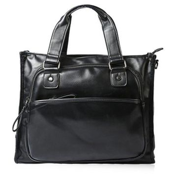 Fashionable Men's Briefcase With Zippers and Black Colour Design   Black