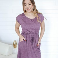 Sidewalk Stroll Dress - Dusty Plum