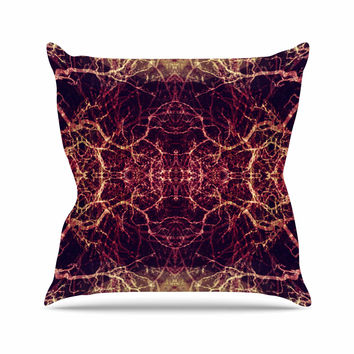 "Pia Schneider ""Burning Roots I+VIII"" Maroon Abstract Throw Pillow"