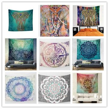 Urijk Bohemia Bedding Outlet Elephant Tapestry Colored Printed Decorative Mandala Tapestry Indian Wall Carpet 150x200cm