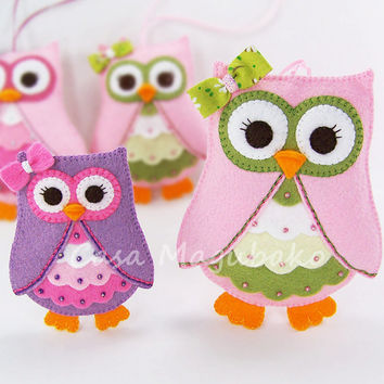 Felt Owl Pattern - Felt Owl Embellishment or Ornament Tutorial - DIY PDF File - 2 Sizes - Instant Download