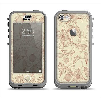 The Tan & Brown Floral Laced Pattern Apple iPhone 5c LifeProof Nuud Case Skin Set