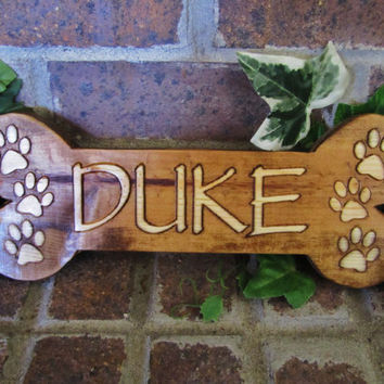 Personalized Custom Carved Wood Sign Plaque Dog Bone Cat Pet
