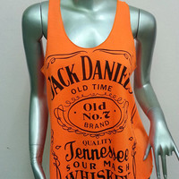 Jack Daniel's Tennessee Whiskey Old Time T-Shirt Women shirt Tank Top vest sleeveless shirt screen Rock Punk classic Orange S24 Size S M