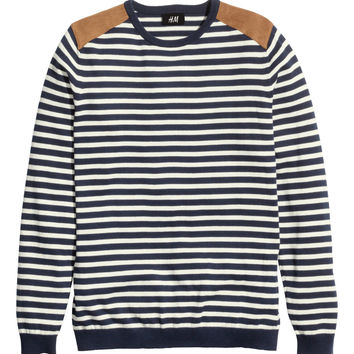 H&M - Fine-knit Sweater - Dark blue/striped - Men
