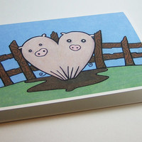 cute pig card heart drawing illustration print