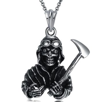 Fashion Necklace with the Skull of the Head Devil Punk Necklace