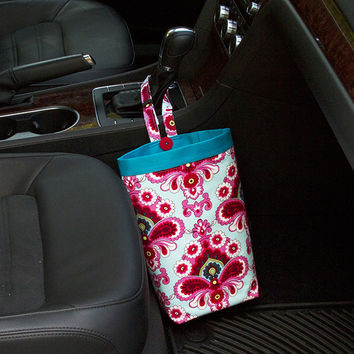 Car Trash Bag ~ Duck Egg ~ Turquoise Band ~ Gearshift Handle ~ Standard Lining